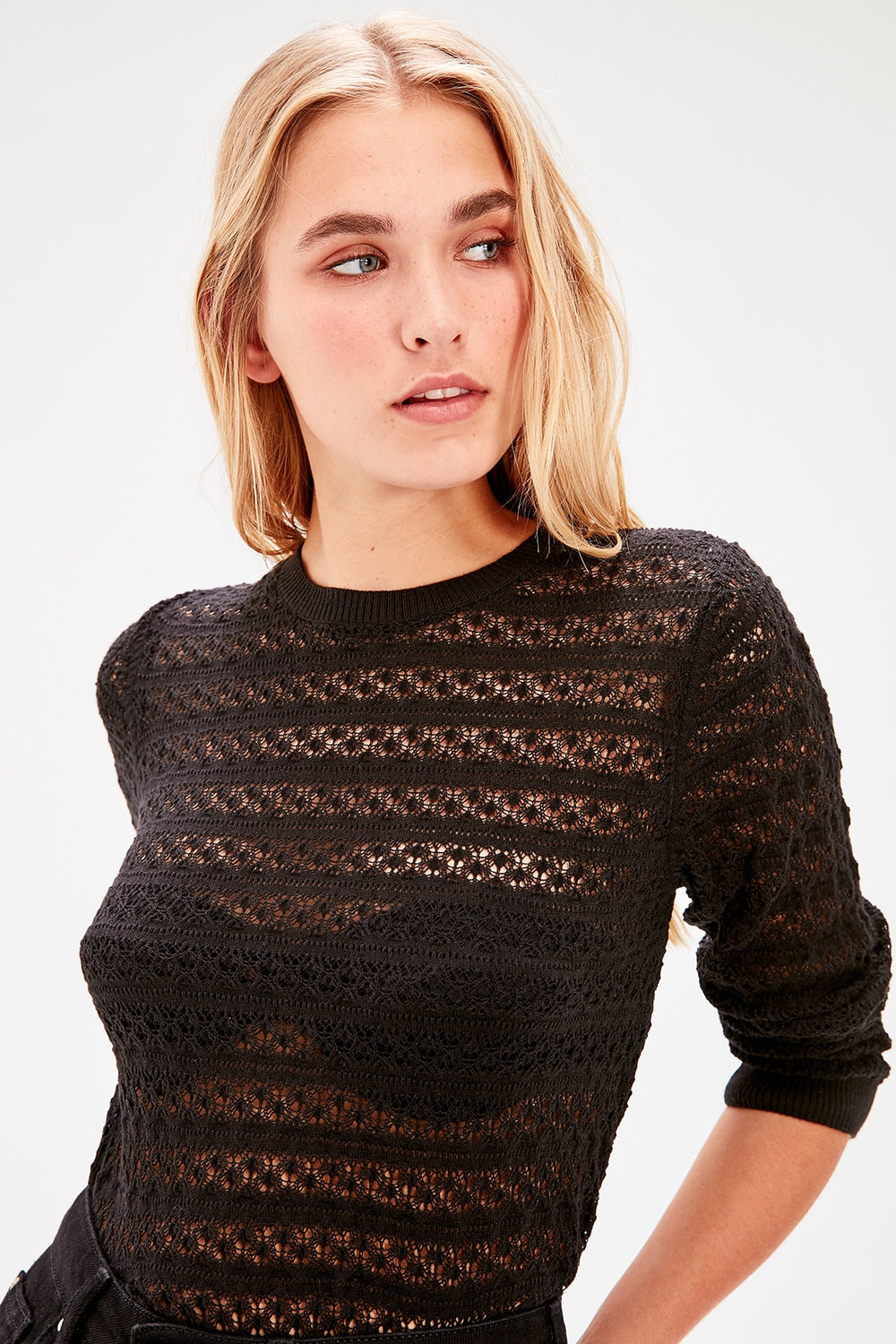 Black Openwork Sweater - Top Maxy
