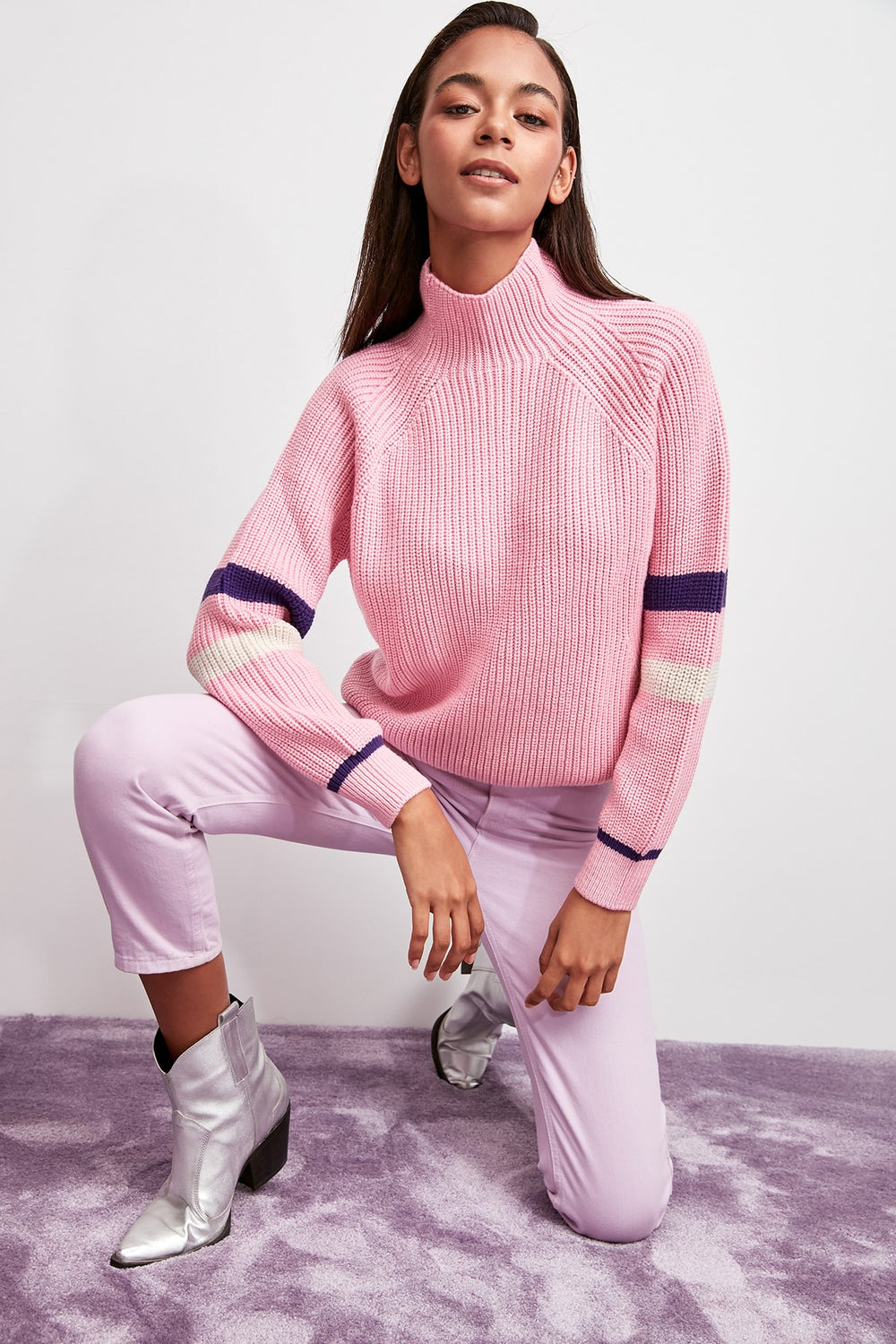 WOMEN-Pink Turtleneck Handle Stripe Knitwear Sweater - Top Maxy