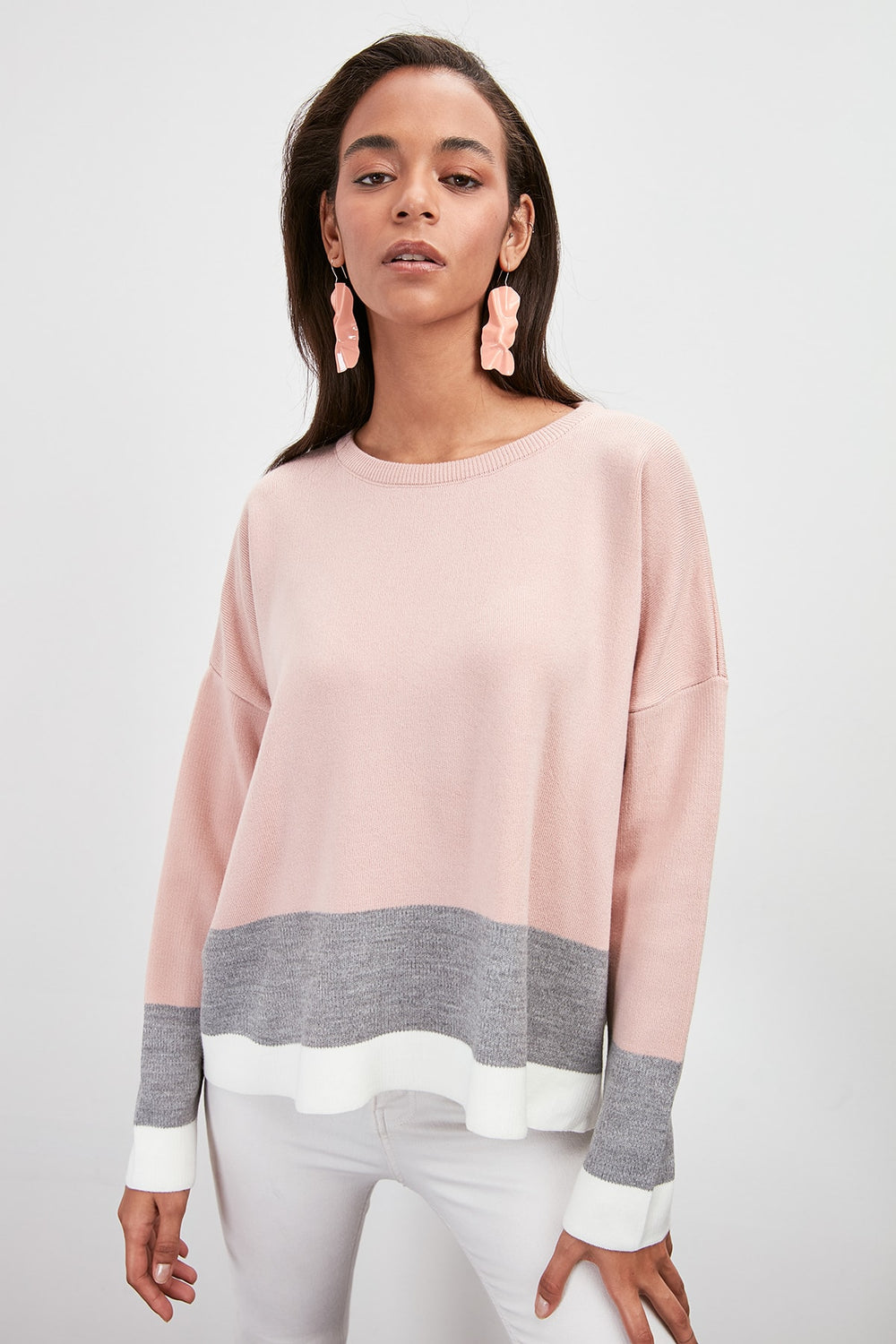 With Color Block Sweater Pullover - Top Maxy