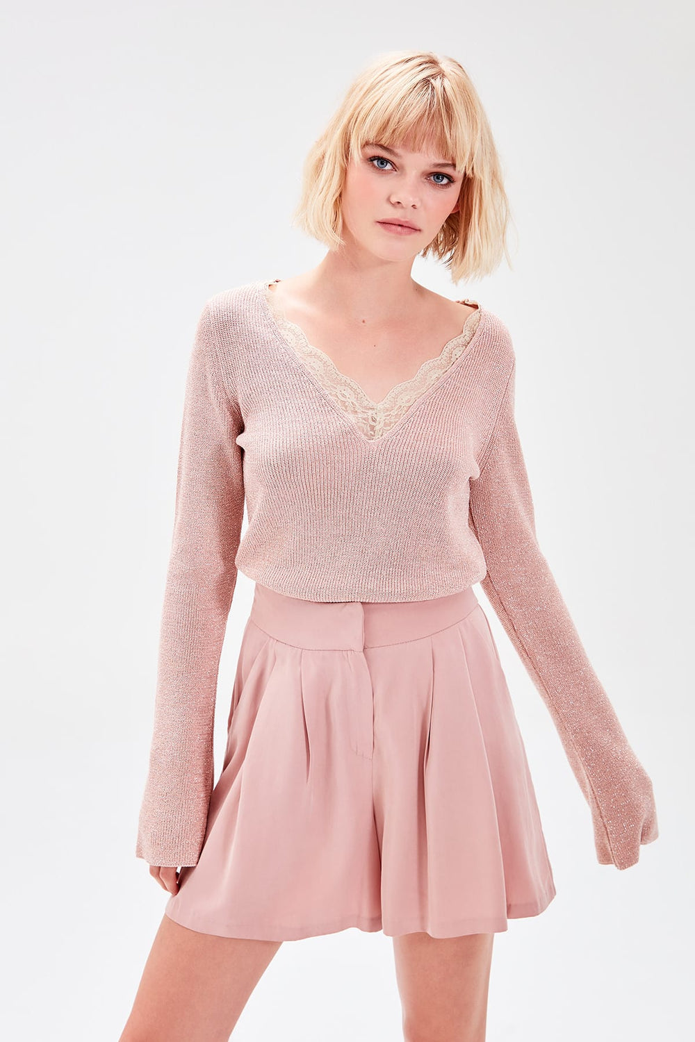 WOMEN-Powder Lace Detail Sweater - Top Maxy