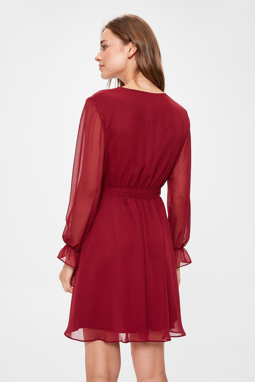 Burgundy Belted Dress - Top Maxy
