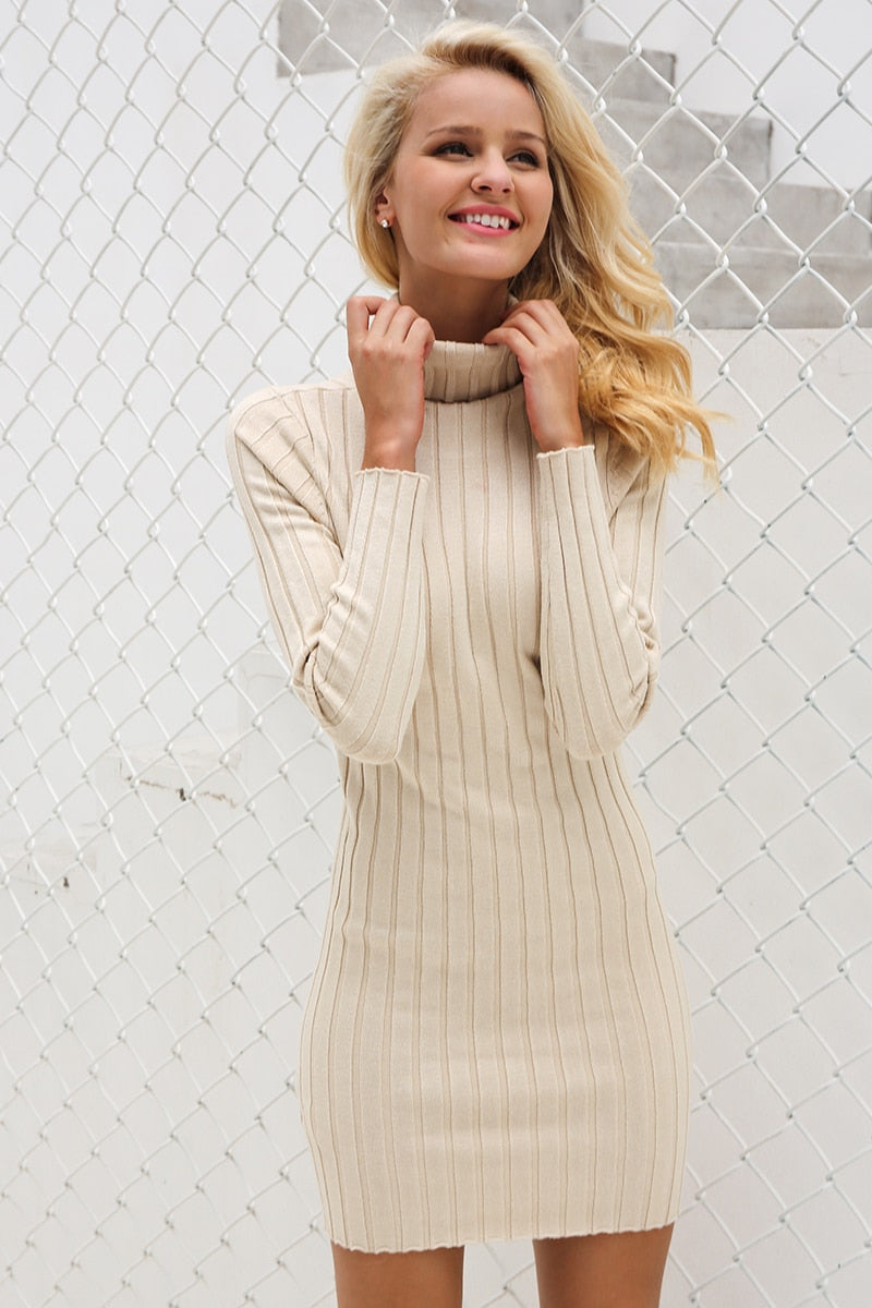 Casual turtleneck long knitted sweater dress - Top Maxy