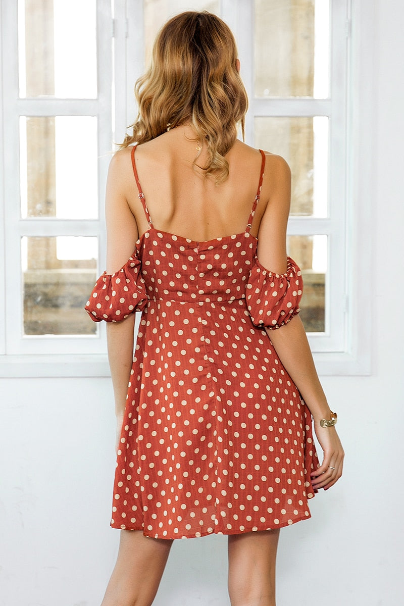 Strap cold shoulder summer dress - Top Maxy
