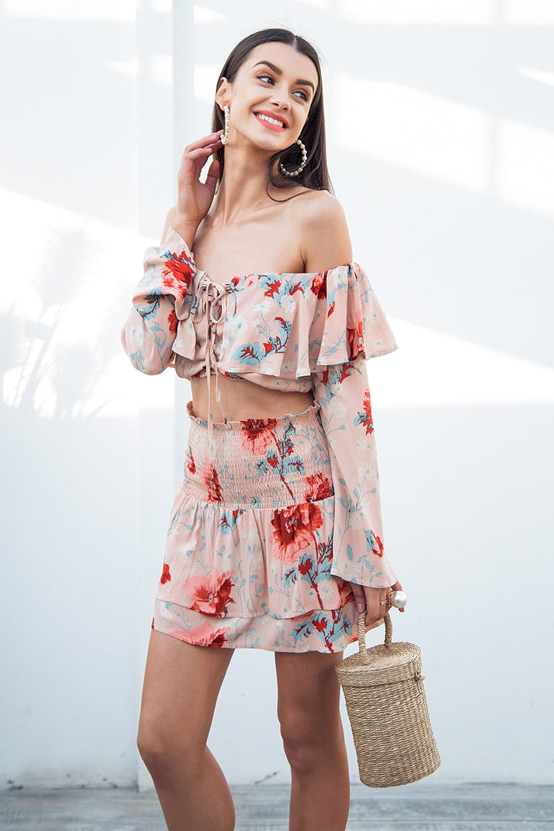 Sexy off shoulder print two piece dress - Top Maxy
