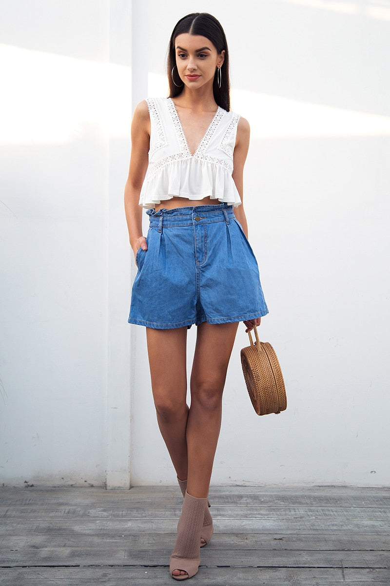 Summer casual ruffle blue denim shorts - Top Maxy