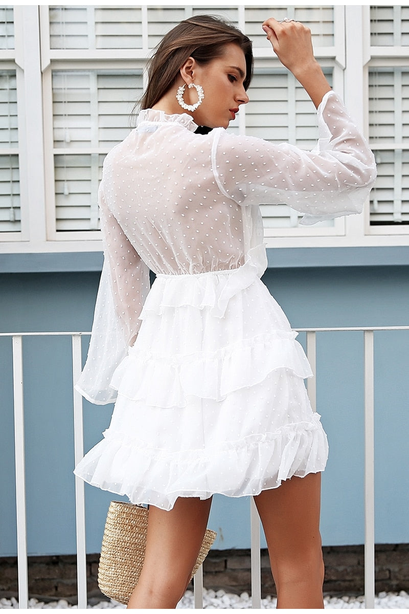 High waist lace up short dress - Top Maxy