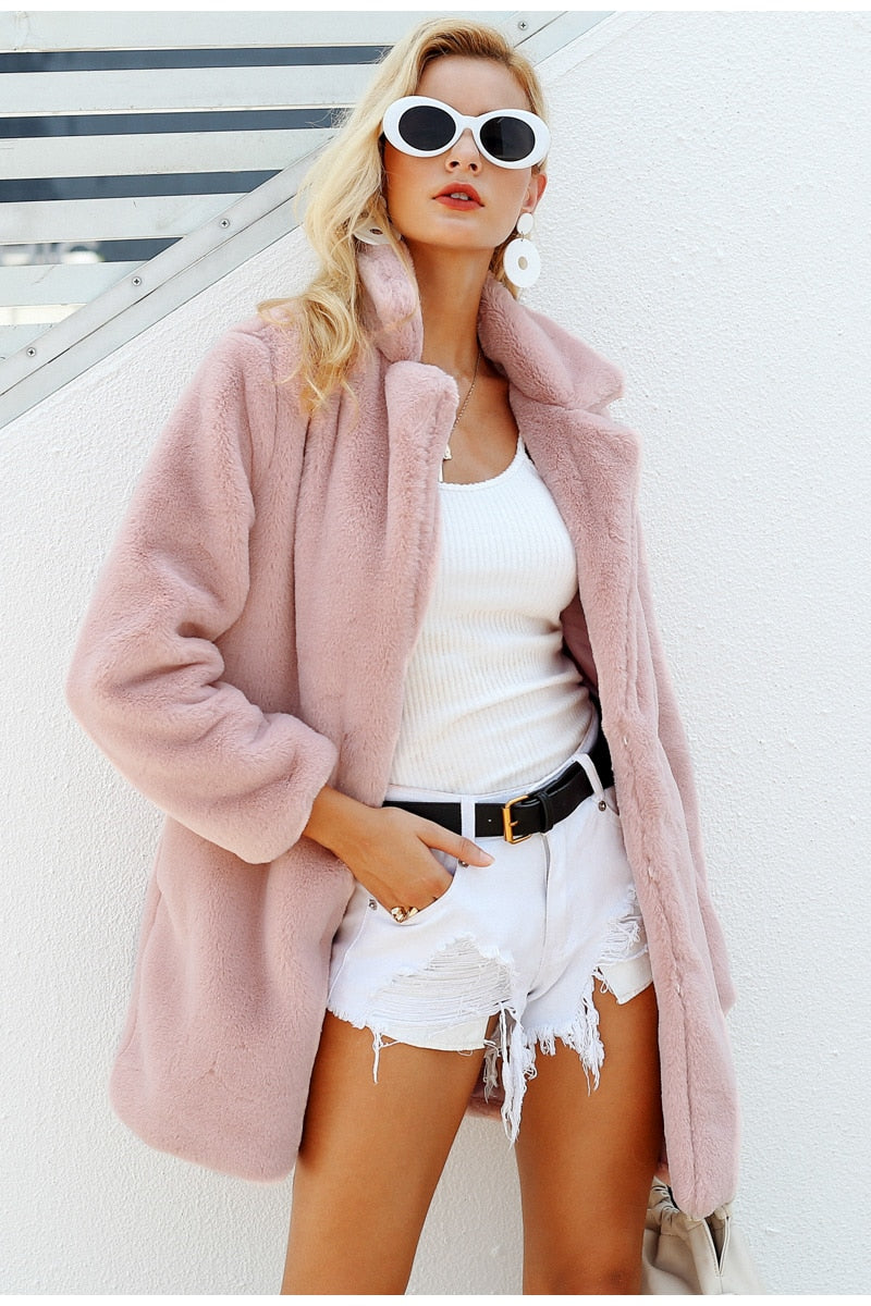 Elegant pink shaggy women faux fur coat - Top Maxy