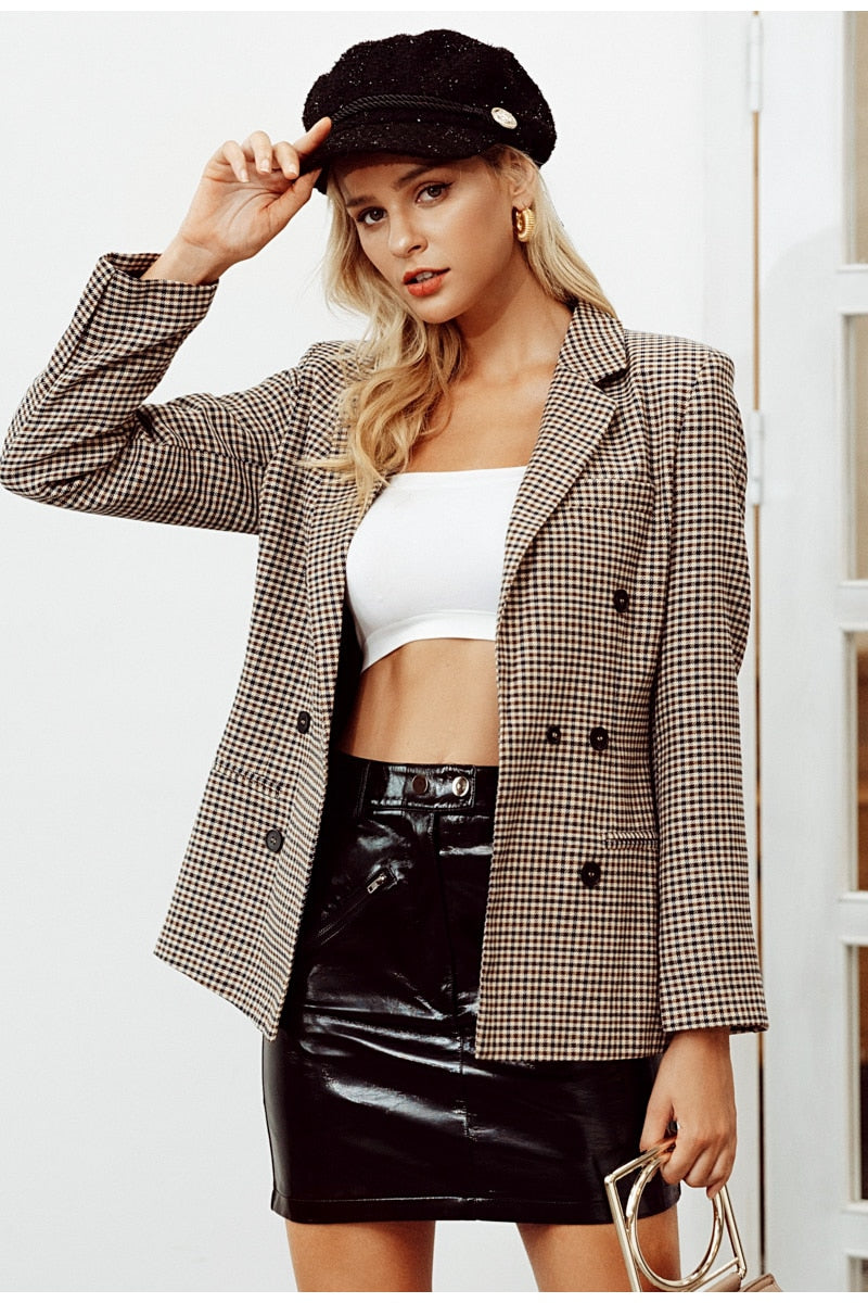 Fashion double breasted plaid blazer - Top Maxy