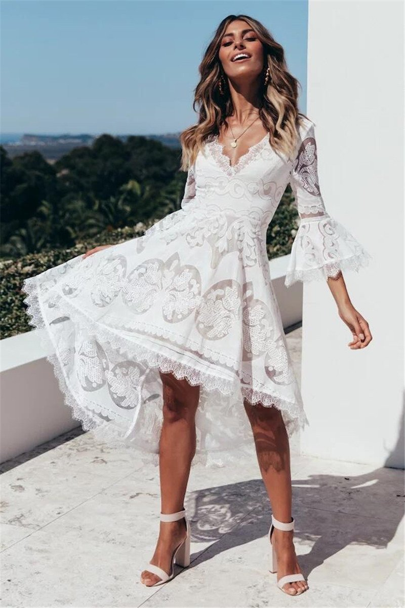 Lace White Vintage Party Dresses - Top Maxy