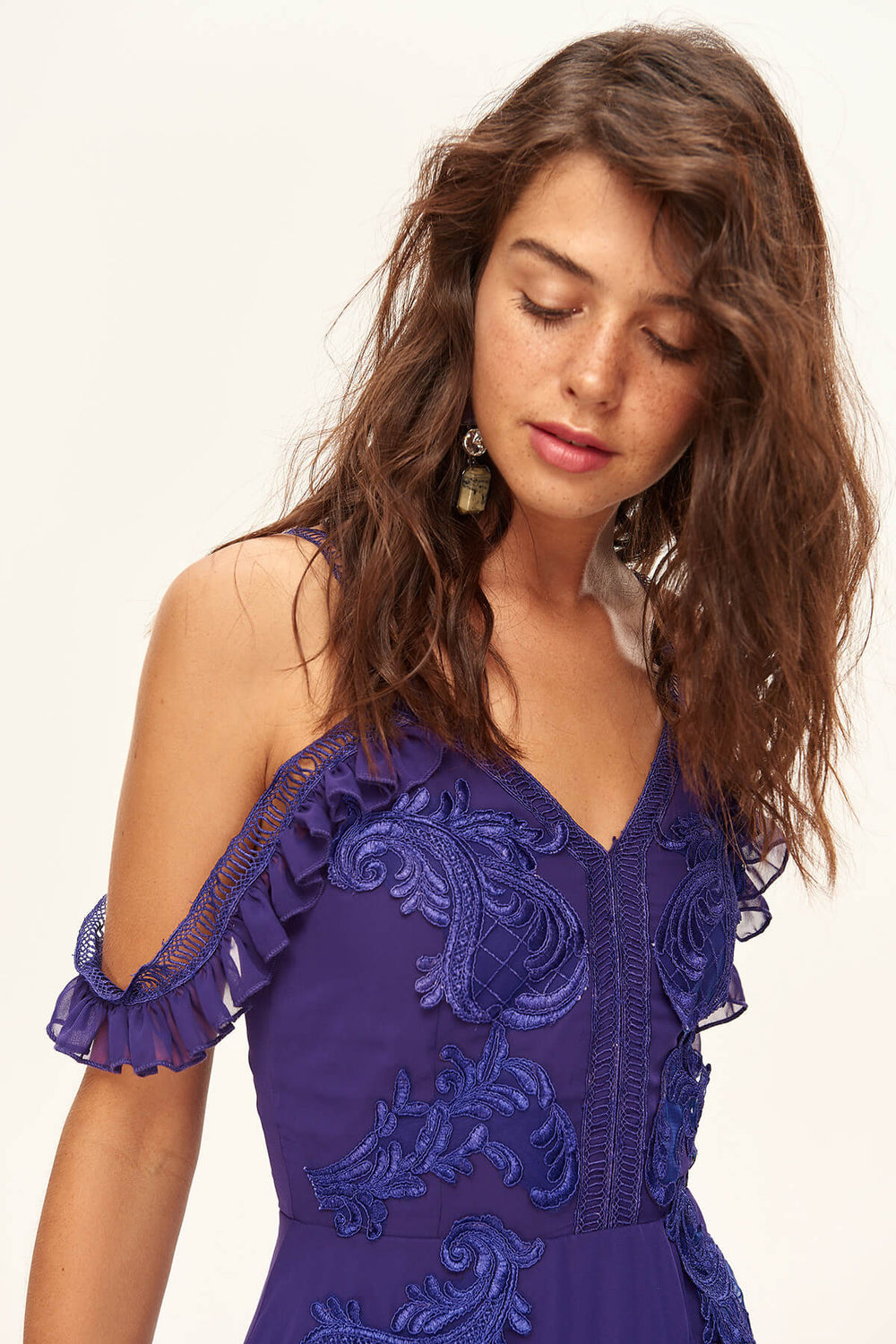 Ornamental purple Applique Evening Dress - Top Maxy