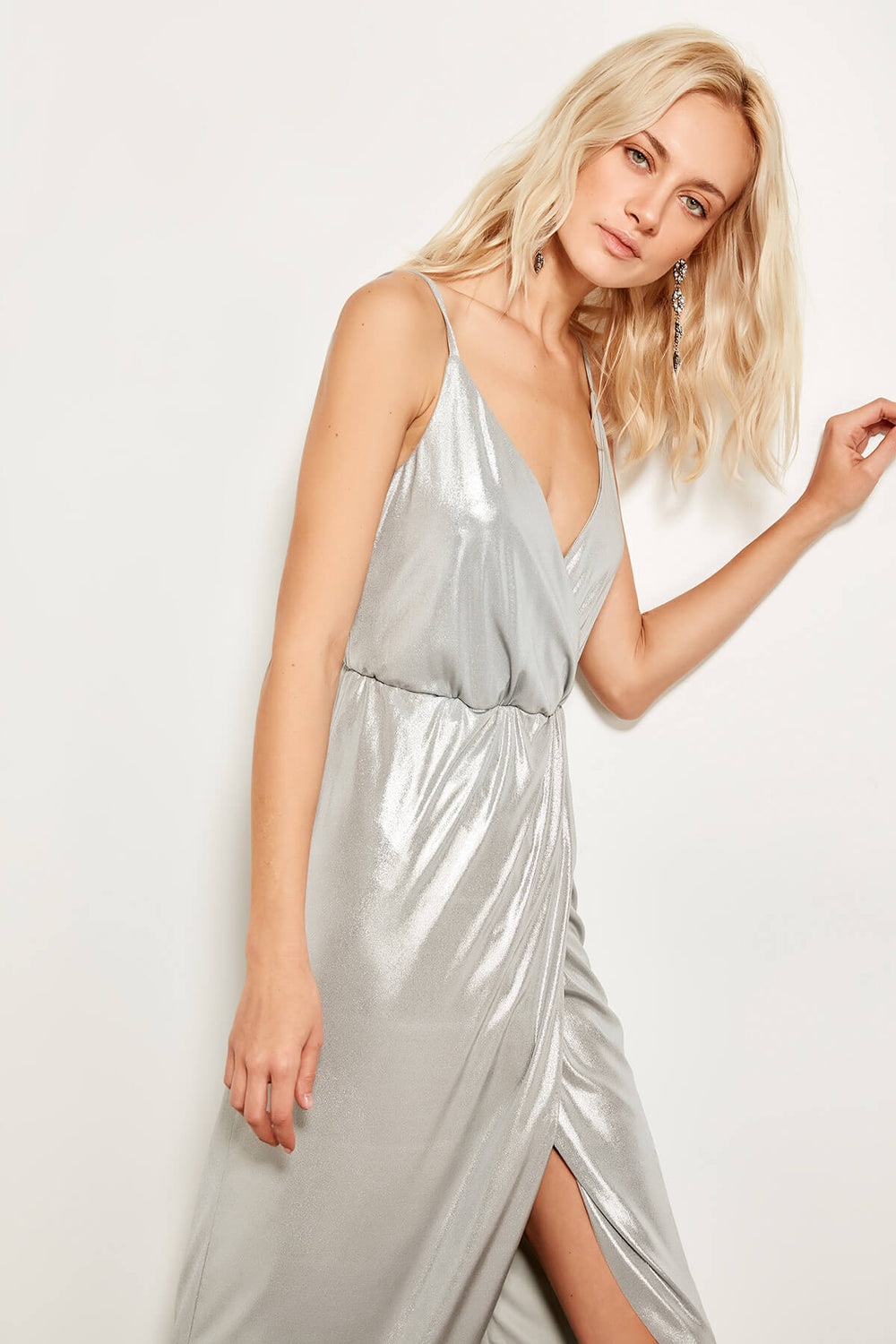 Silver-breasted Collar Dress - Top Maxy