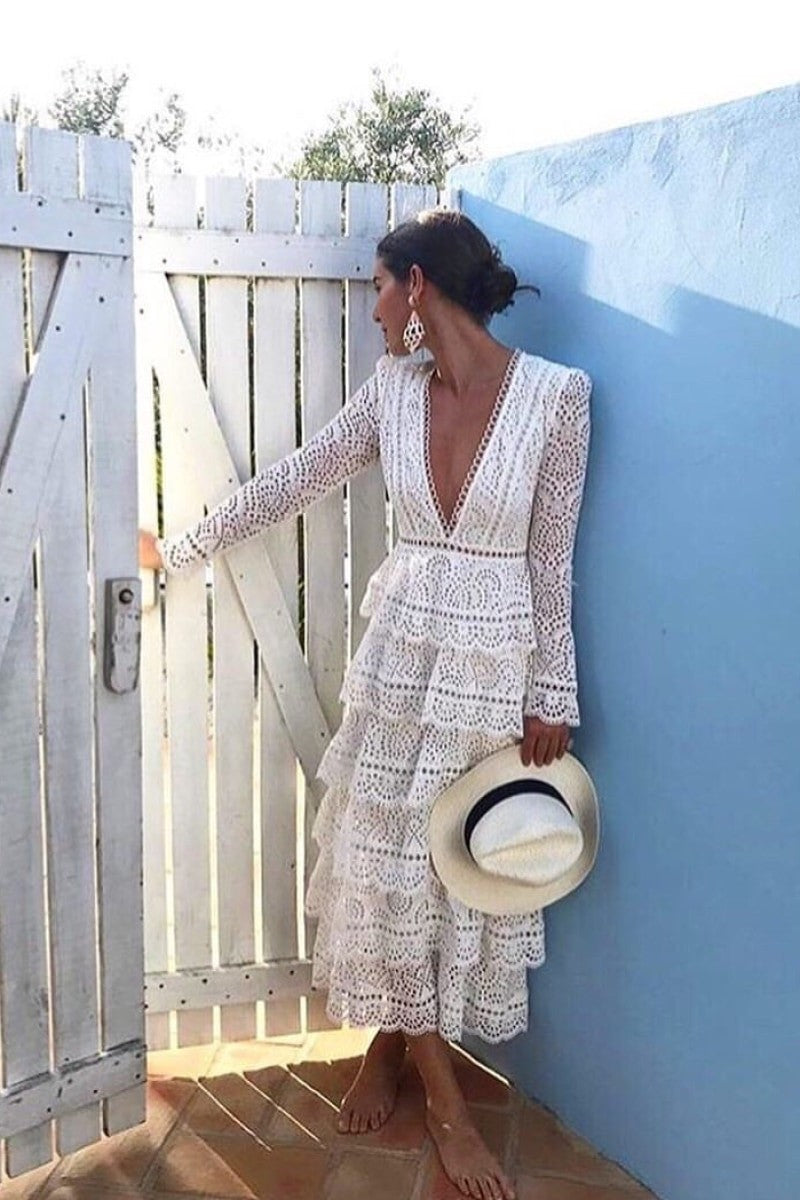 Sexy Deep V-neck Hollow Out Embroidery Lace Long Dress - Top Maxy