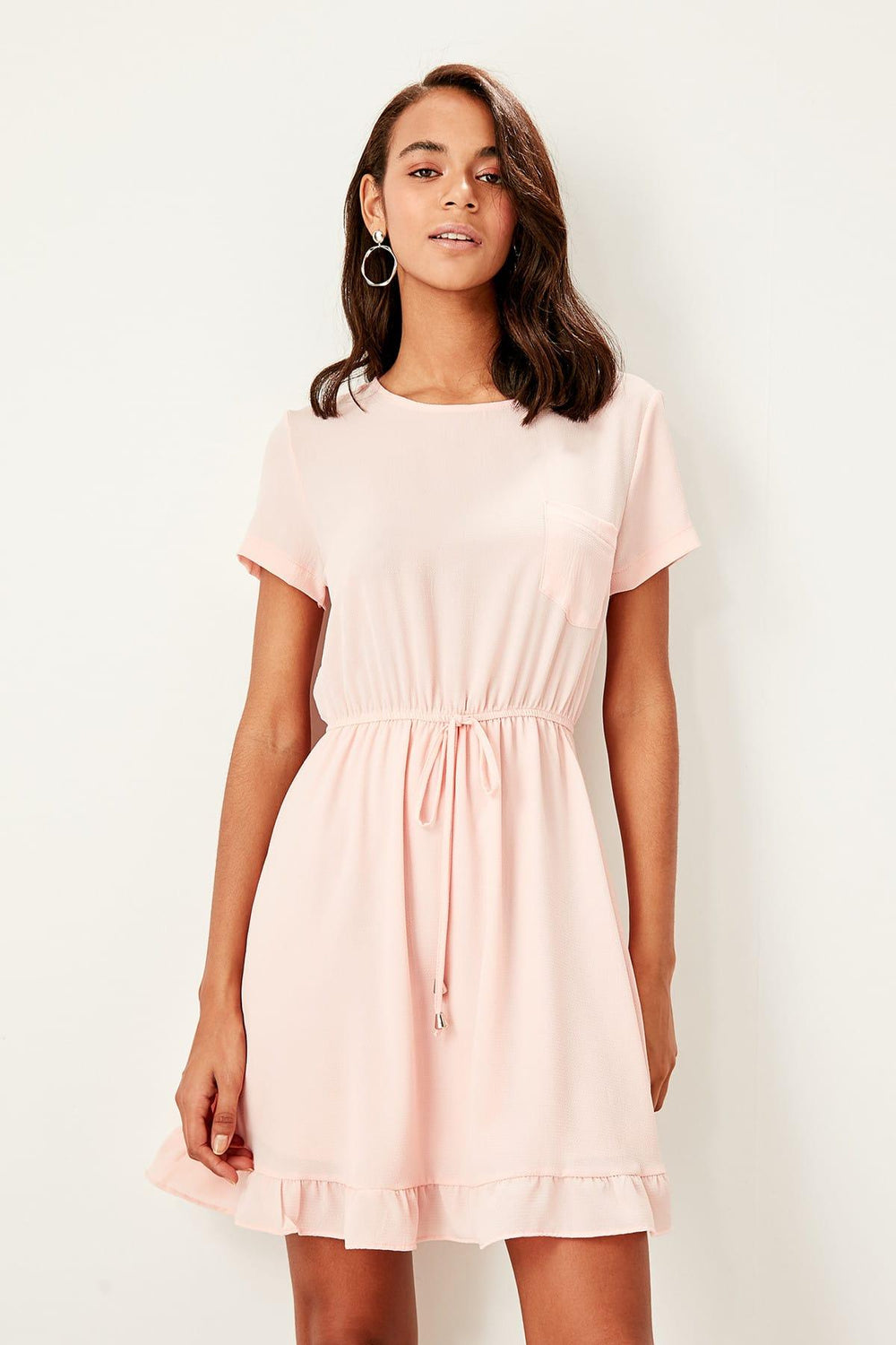 Pink Waist Shirred Dress - Top Maxy