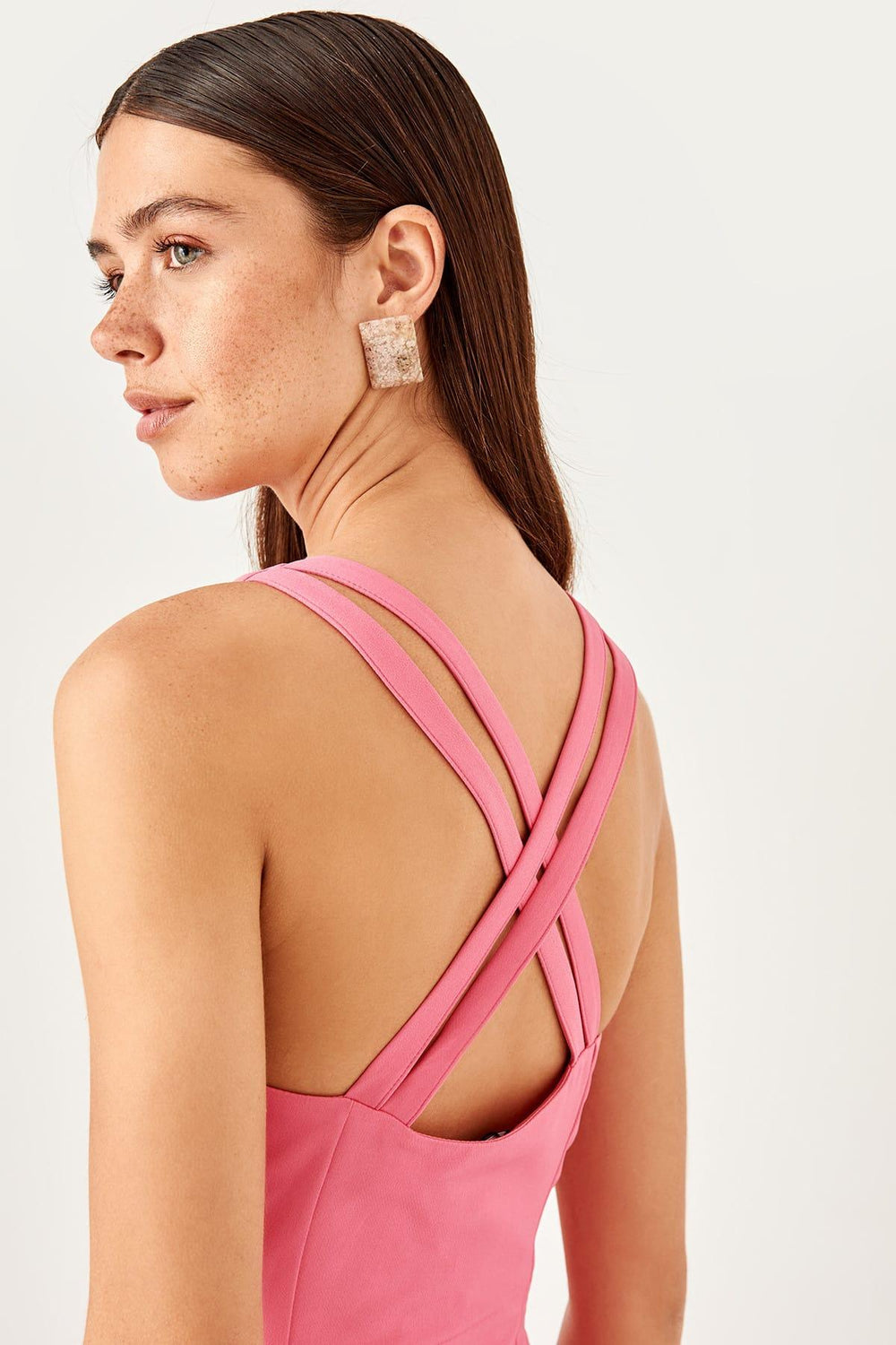 Pink Cross Halter Dress - Top Maxy