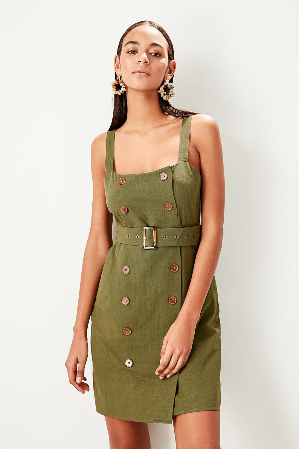 Khaki Button Detail Mini Dress - Top Maxy