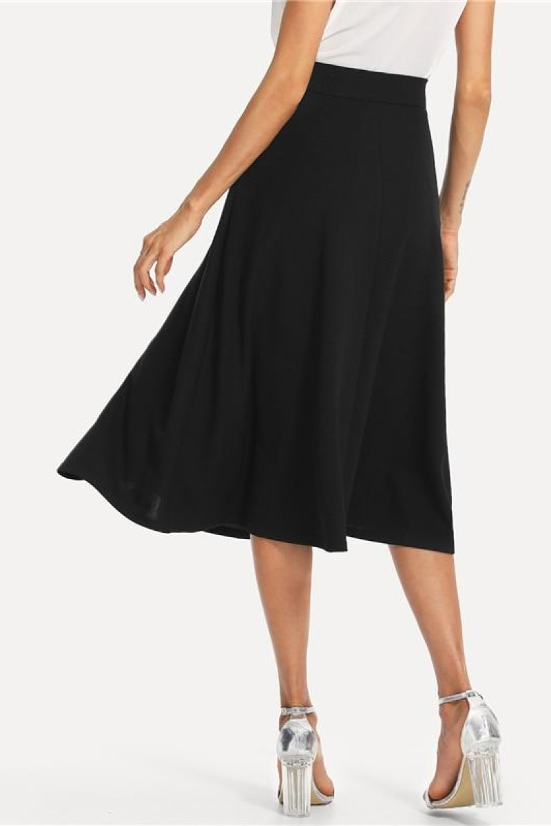 Elegant Slant Pocket Side Circle Mid Waist Long Skirt - Top Maxy