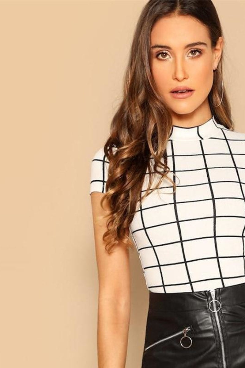 Black and White Plaid Peplum Stand Collar Belted Top - Top Maxy