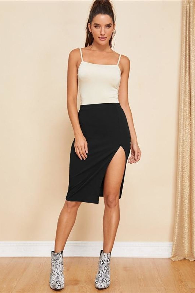 Black Solid Split Sexy Skirt - Top Maxy