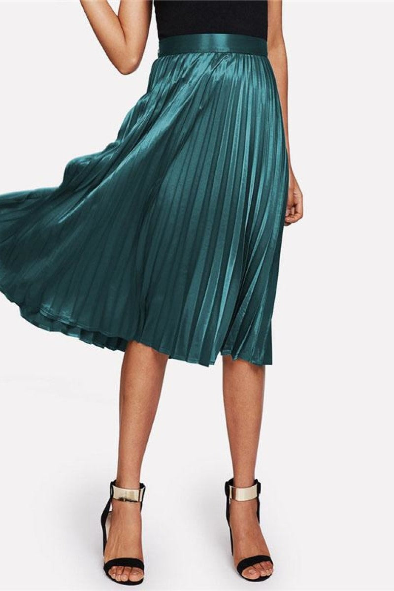 Zip Closure Pleated Satin Skirt - Top Maxy