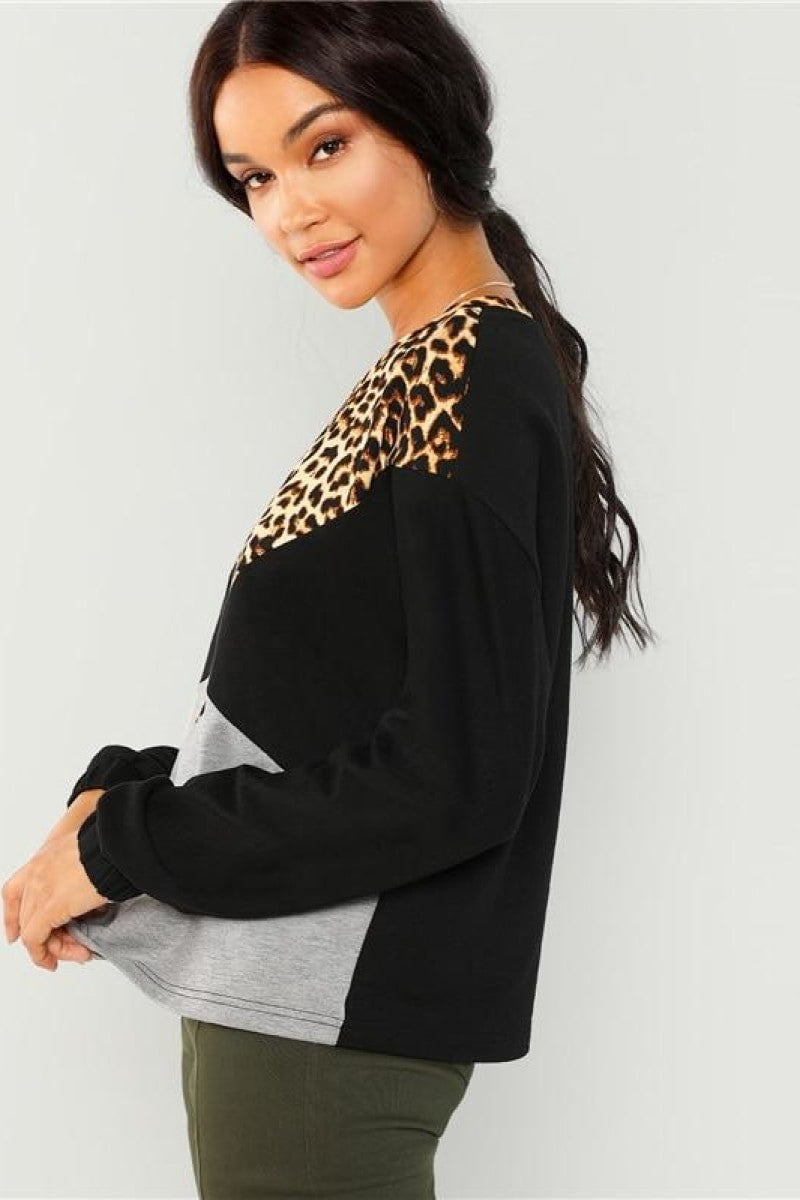 Leopard Casual Cut and Sew Pullover - Top Maxy