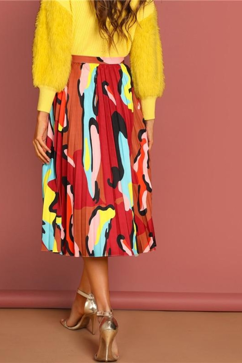 Multicolor Graphic Print Pleated High Waist Skirt - Top Maxy