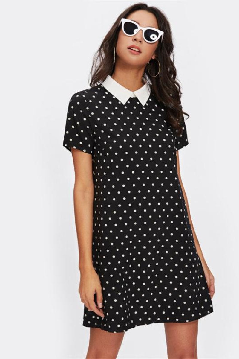 Contrast Collar Polka Dot Straight Dress - Top Maxy