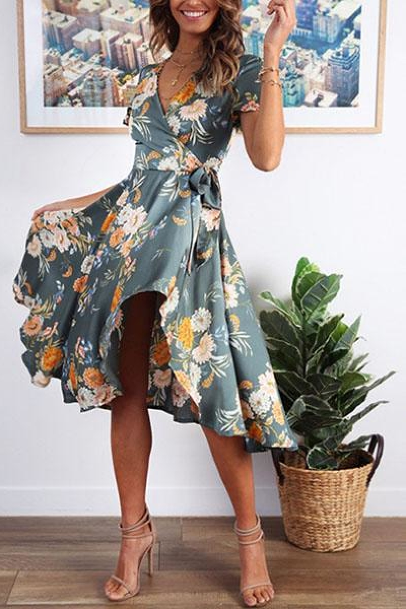 Floral print high waist summer dress - Top Maxy