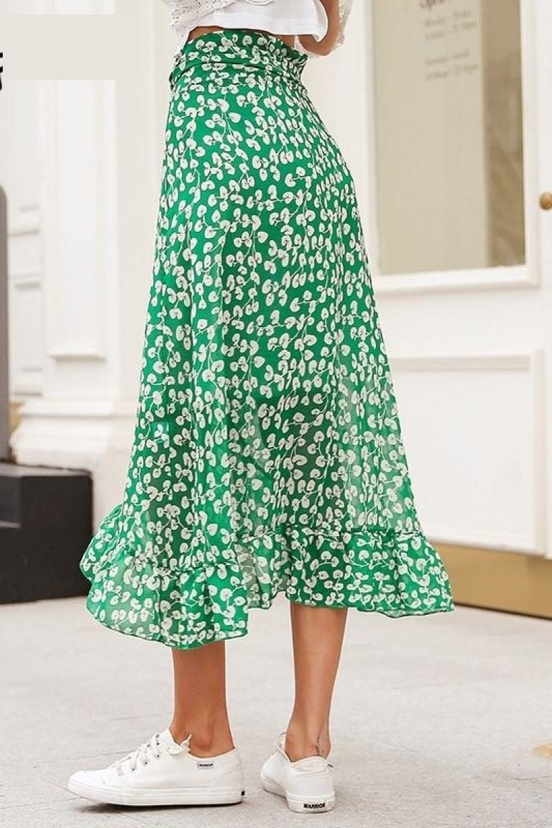 Ruffle leaf print wrap skirt - Top Maxy