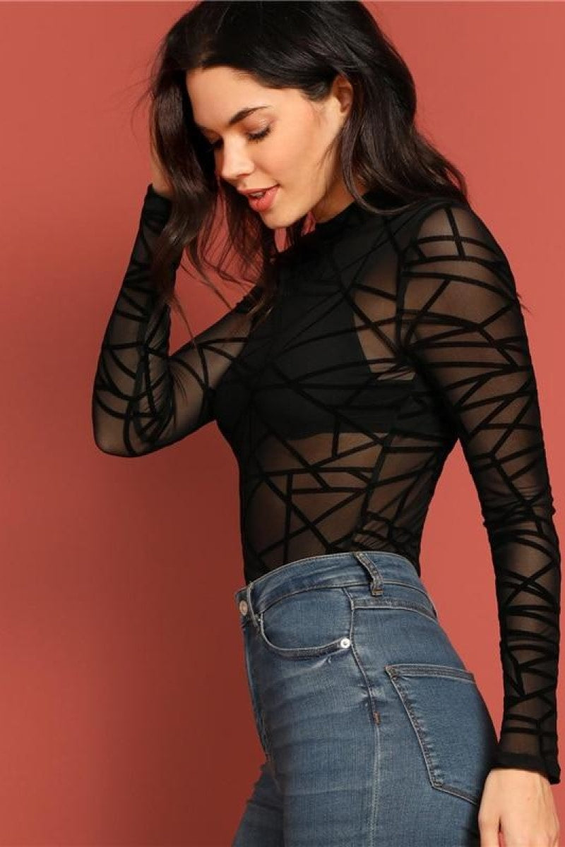 Sexy Black Mock-neck Sheer Mesh Geometric Top - Top Maxy