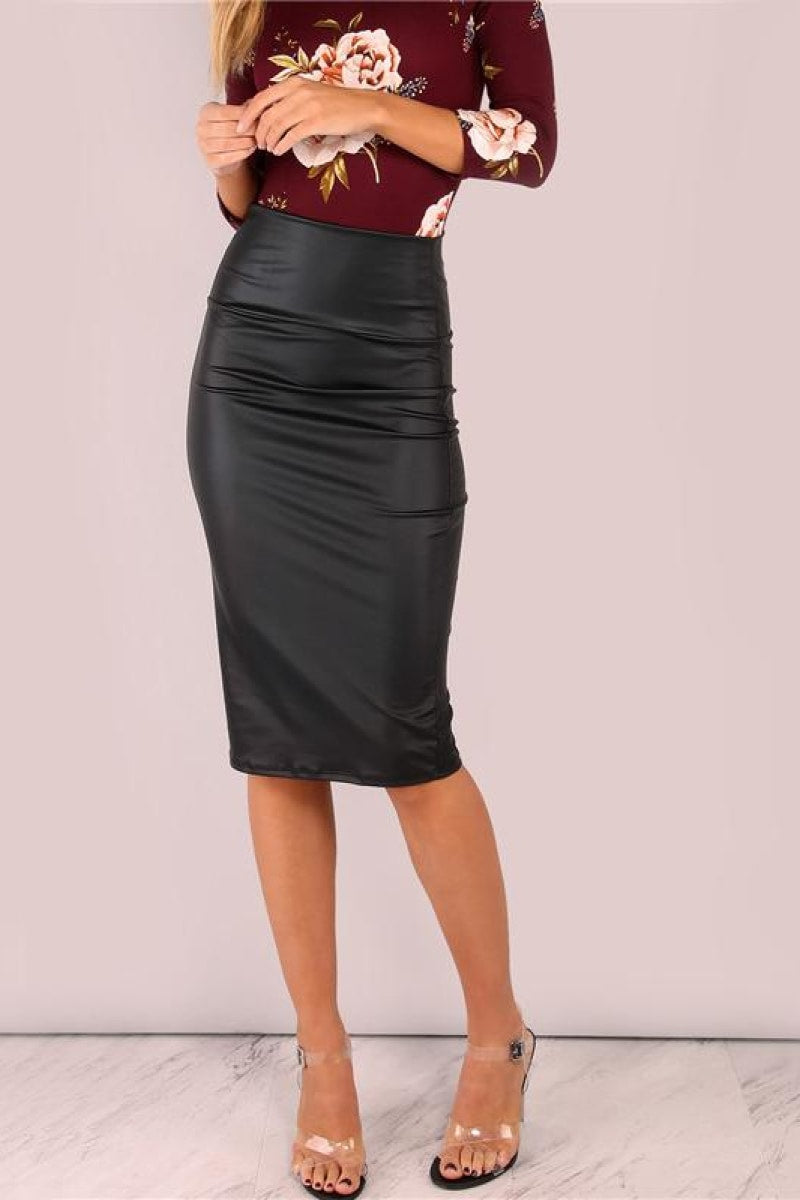 Black Coated Midi Pencil Skirt - Top Maxy