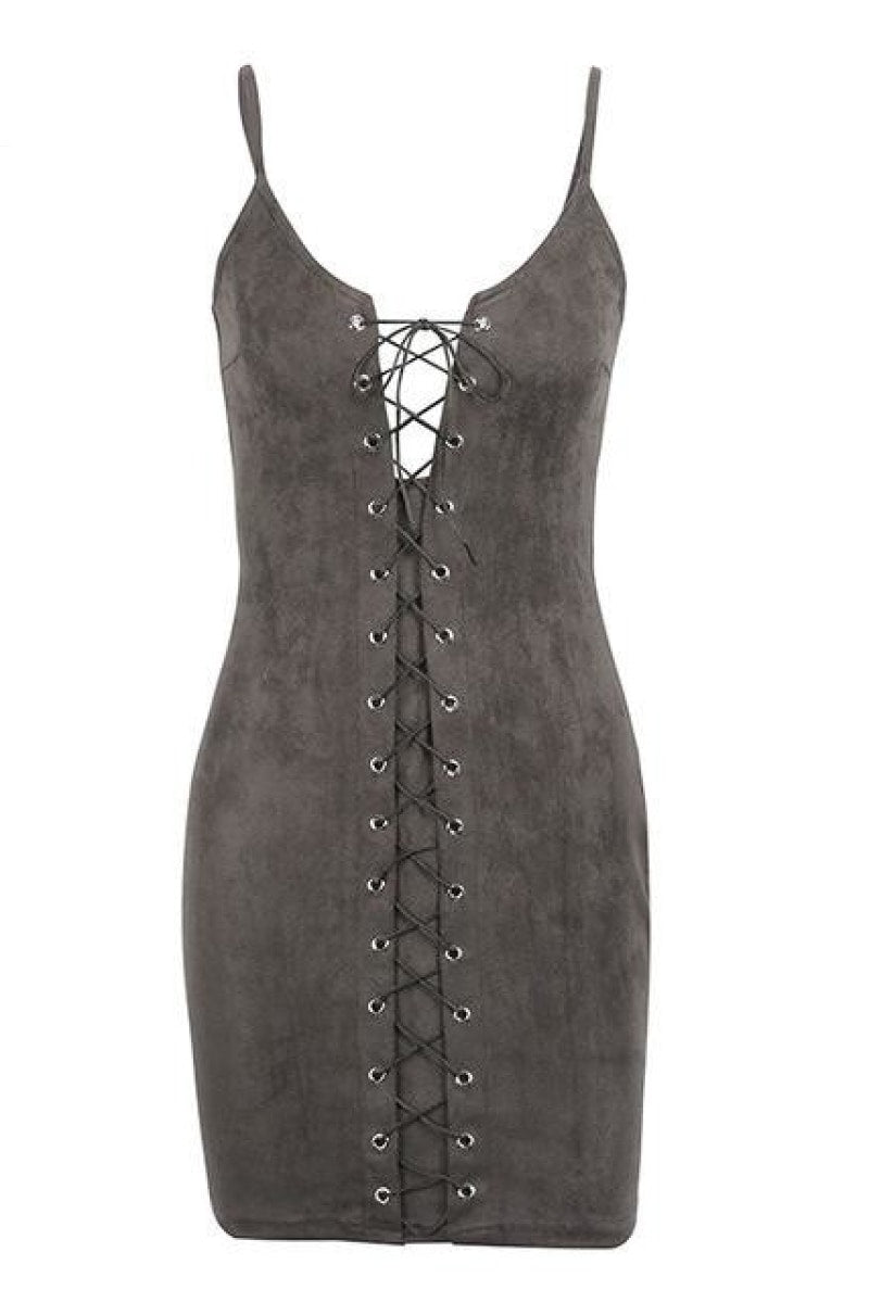 Criss cross lace up suede bodycon sexy dress - Top Maxy