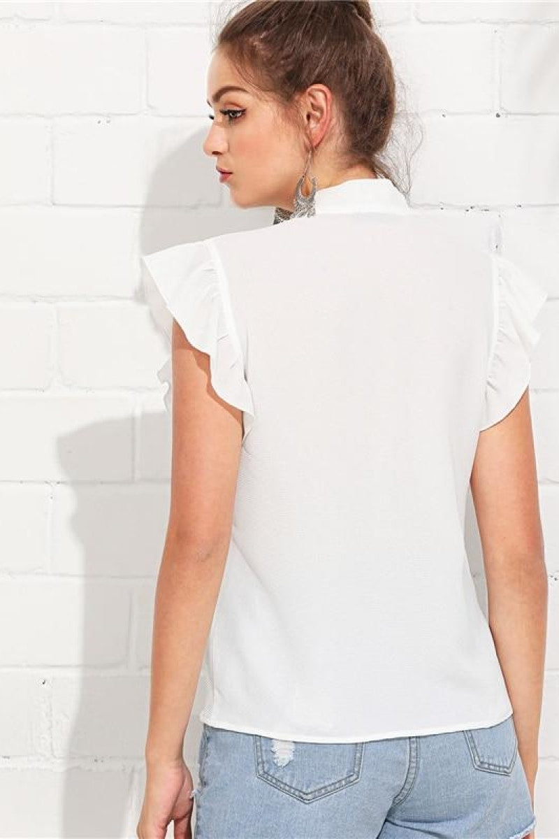 White Elegant Workwear Casual Top - Top Maxy
