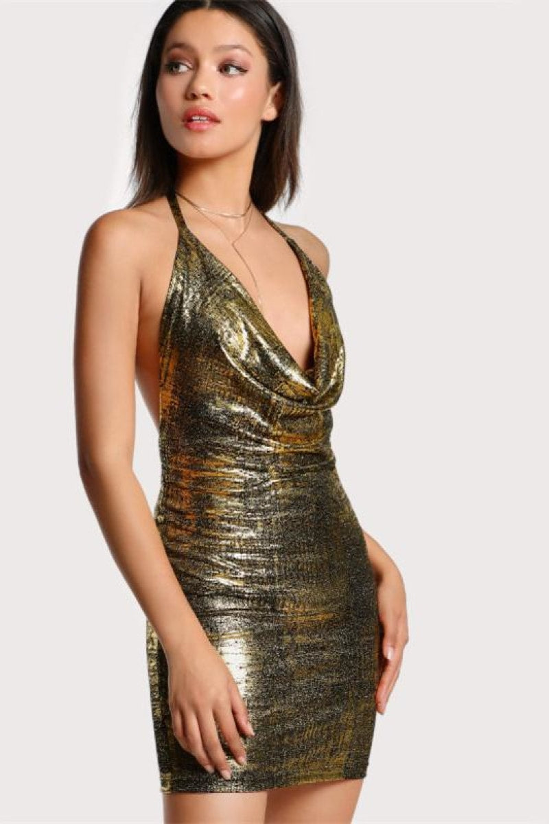 Gold Cowl Neck Sleeveless Bodycon Dress - Top Maxy
