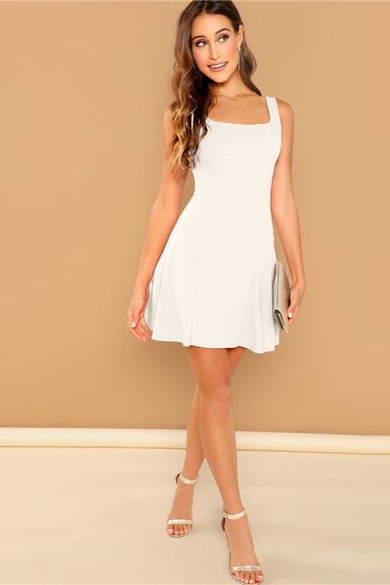 Going Out White Fit Short Plain Dress - Top Maxy