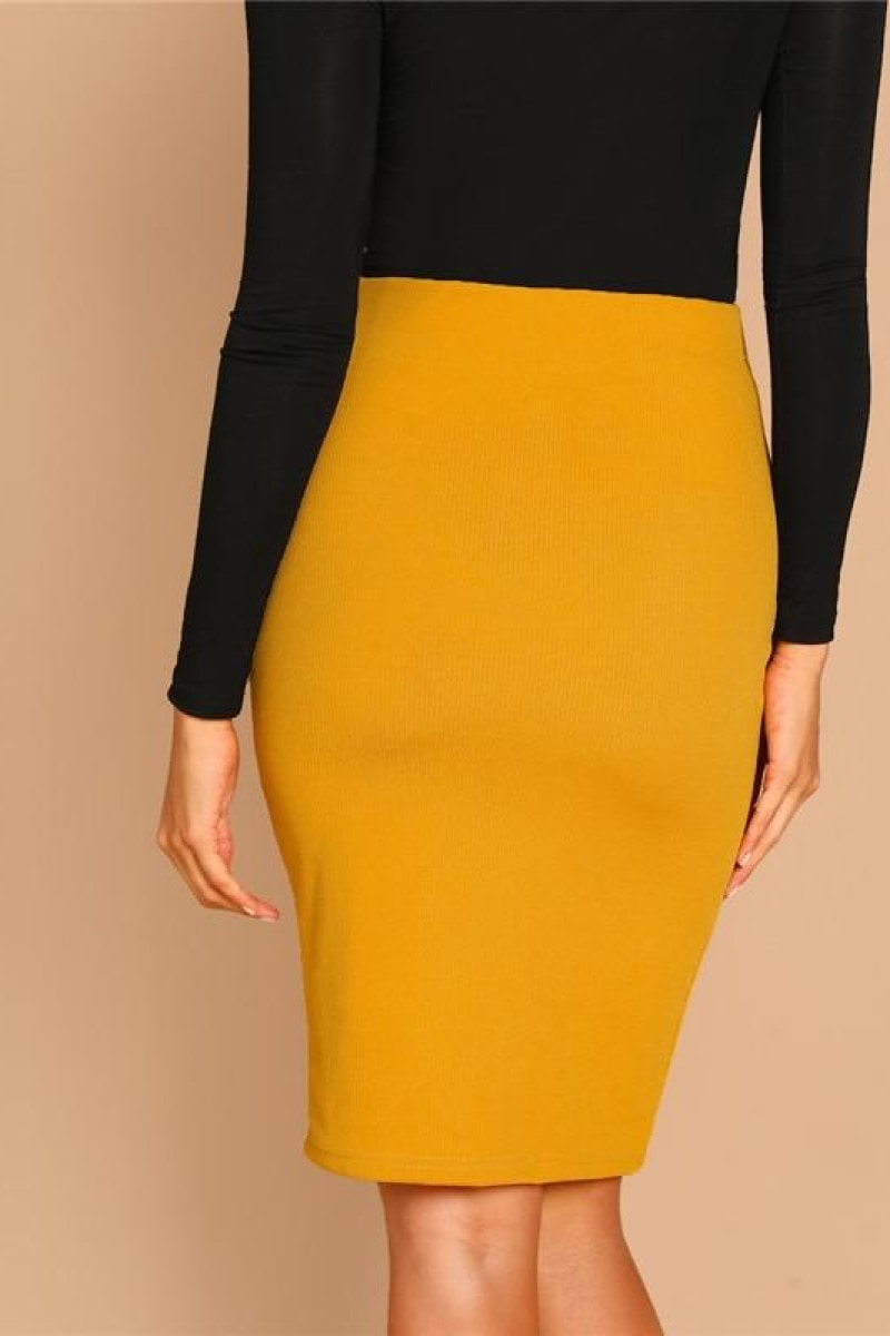 Ginger Solid Bodycon Elegant Plain Mid Waist Pencil Skirt - Top Maxy