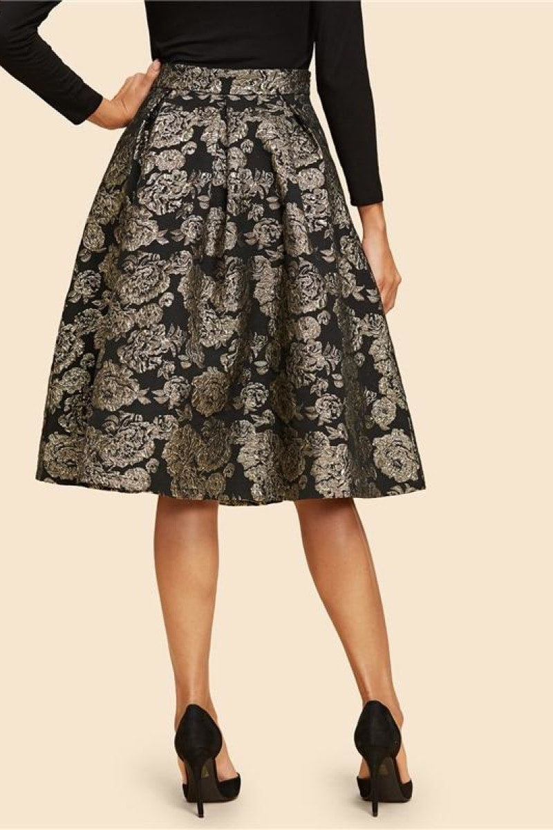 Vintage Gold Flower Print Mid Waist Flare Knee-Length Skirt - Top Maxy