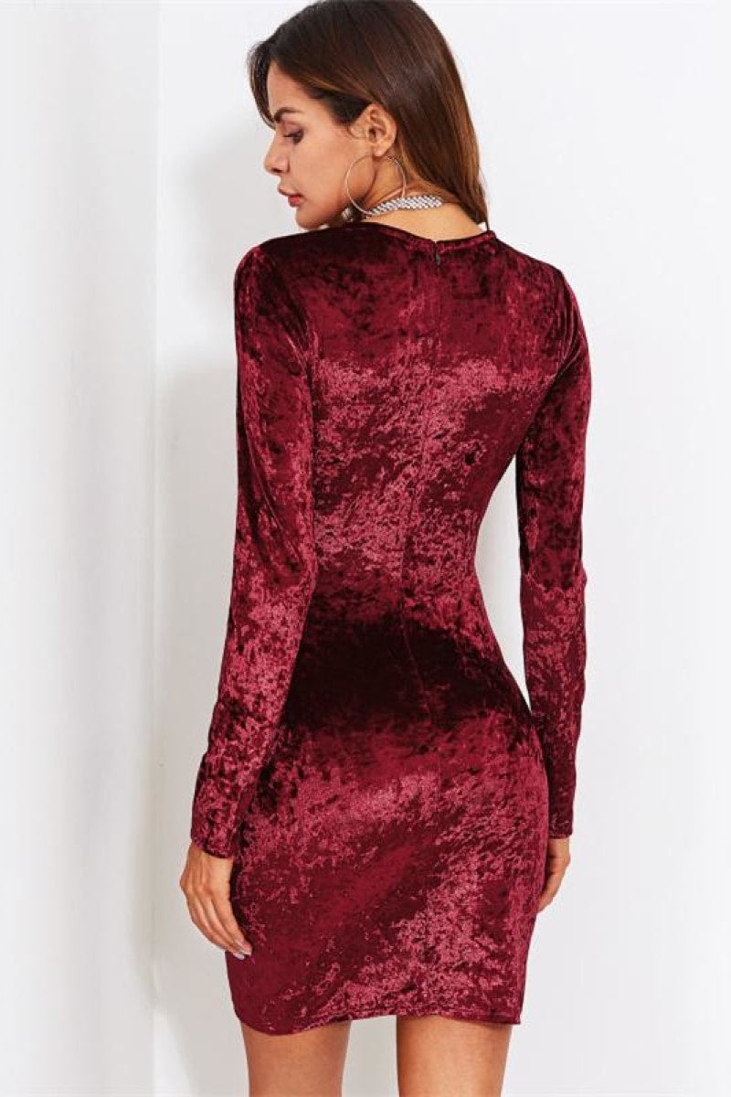 Burgundy Ruched Overlap Surplice Crushed Velvet Party Dress - Top Maxy