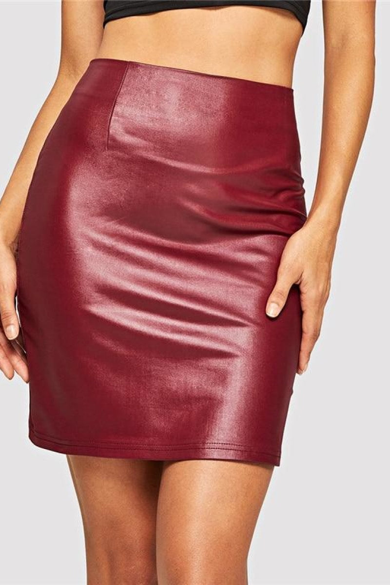 Red Zipper Up Sexy Winter Leather Skirt - Top Maxy