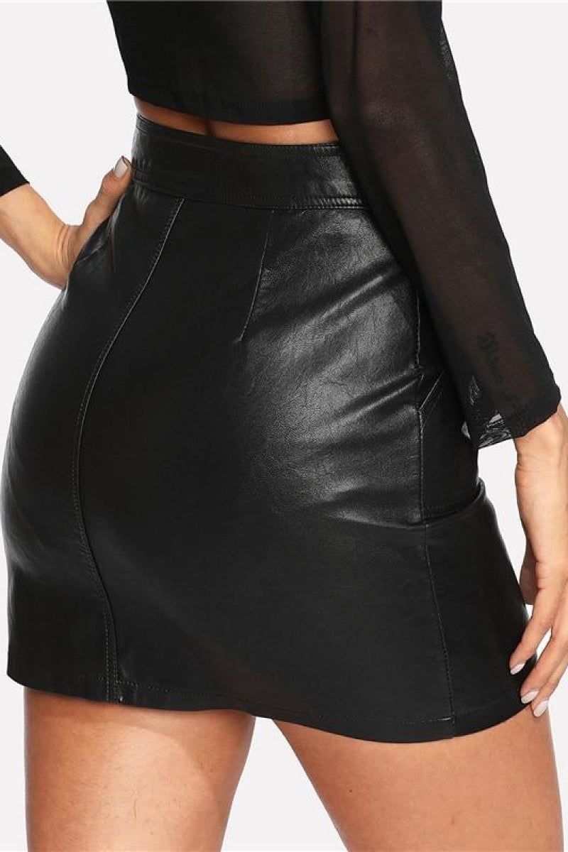 Spring Plain Faux Leather Skirt - Top Maxy