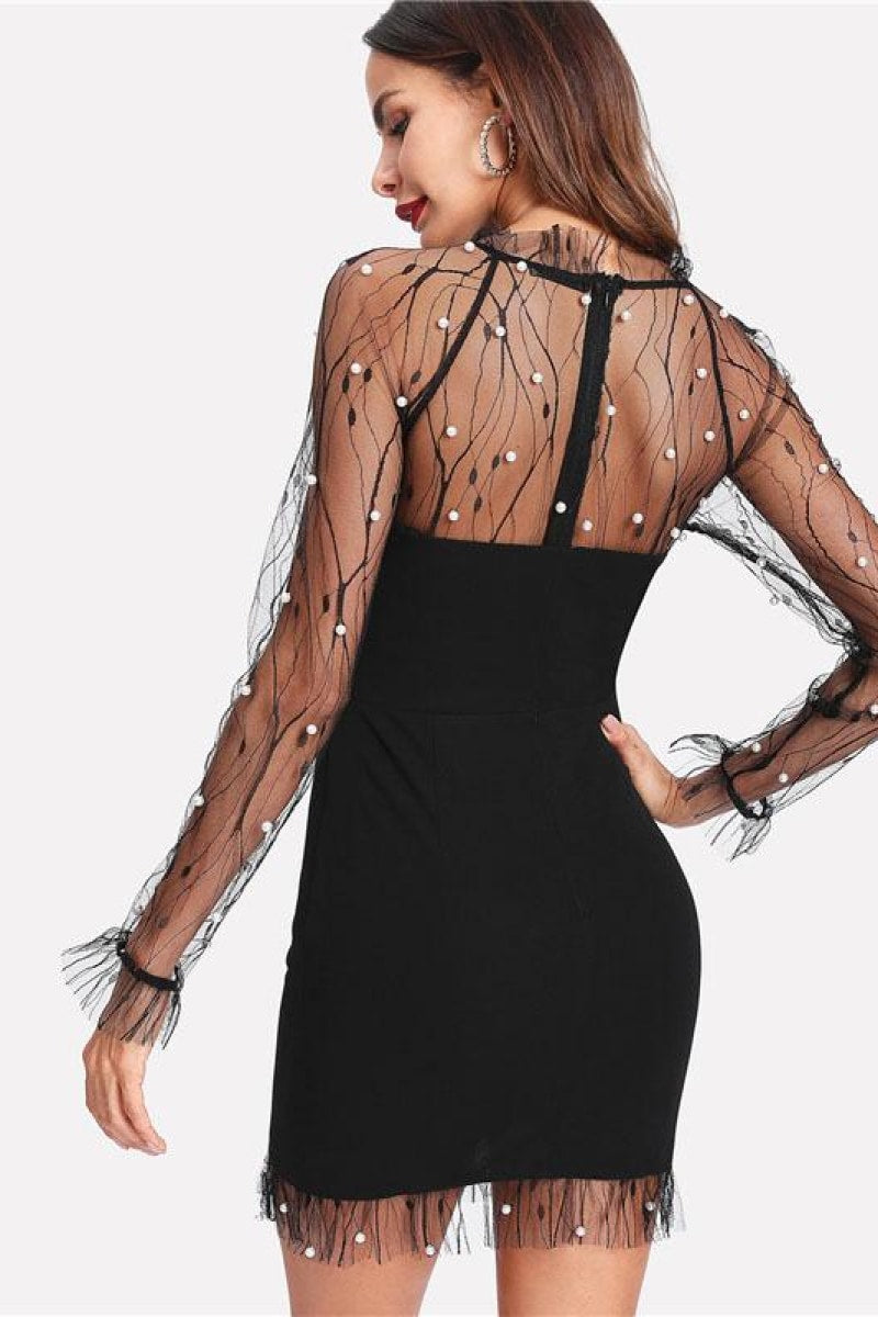 Black Pearl Beading Vine Mesh Panel Dress - Top Maxy