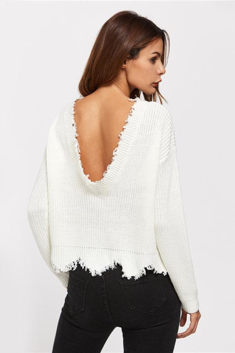 Scallop Edge Sweater White Pullover - Top Maxy