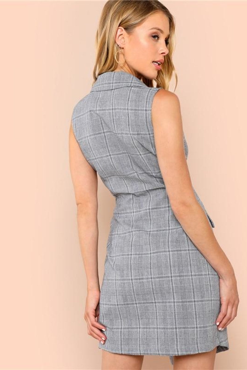 Plaid Work Wrap Button Pockets Vintage Dress - Top Maxy