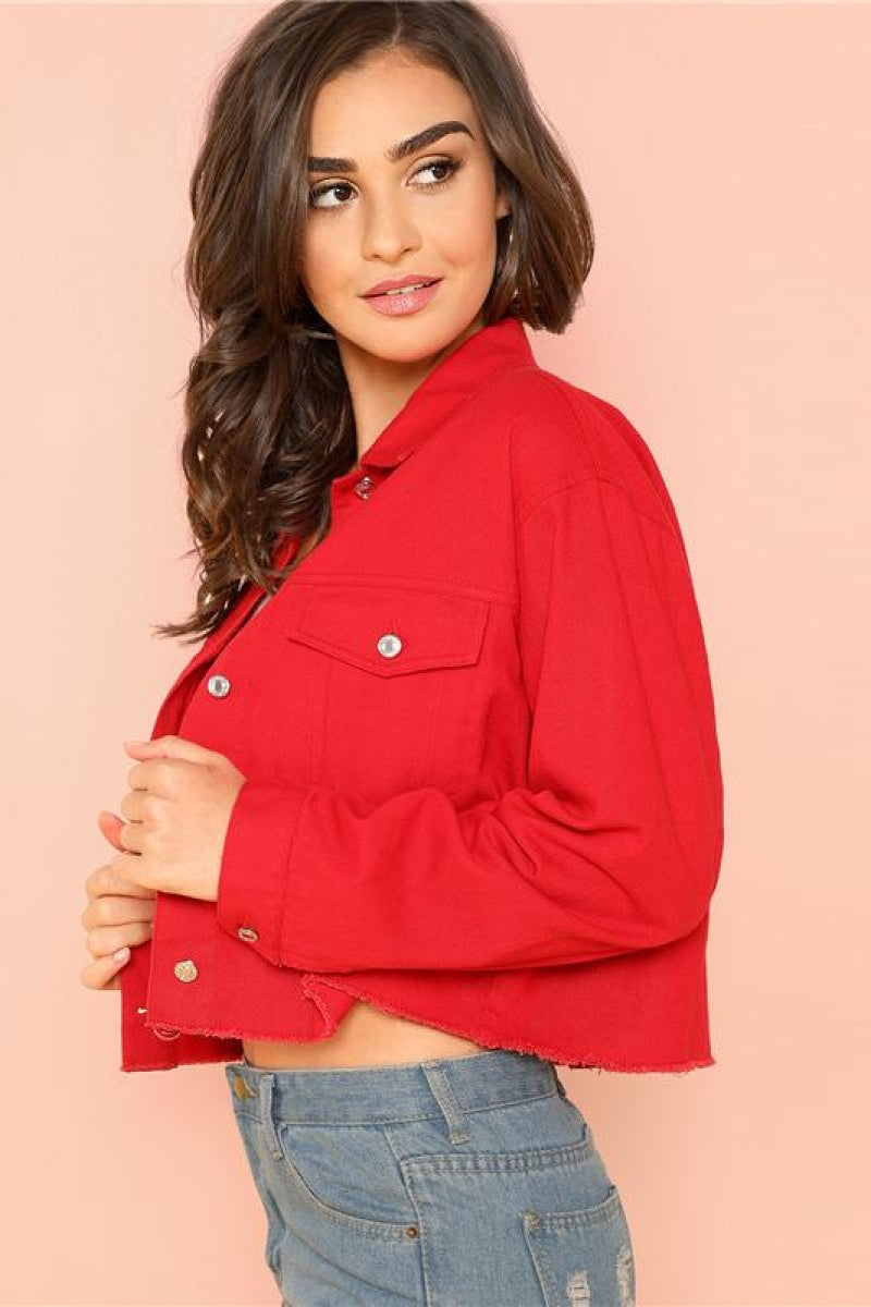 Red Solid Pocket Front Button Up Jacket - Top Maxy