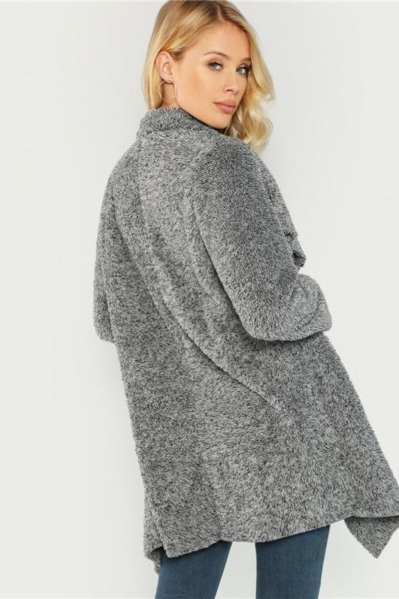Grey Office Lady Elegant Teddy Coat - Top Maxy