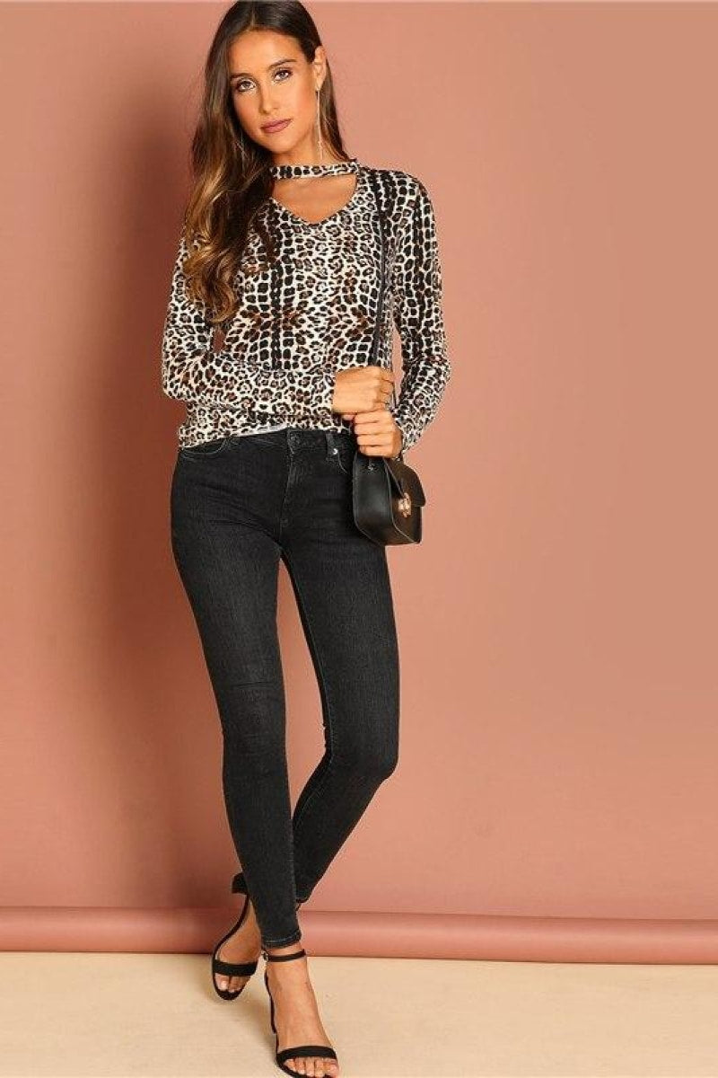 Multicolor Going Out Highstreet Elegant Leopard Casual Tshirt Top - Top Maxy