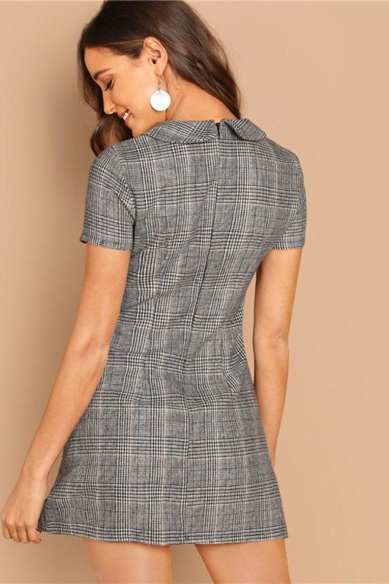 Grey 100% Cotton Peter-Pan-Collar Plaid Short Dress - Top Maxy