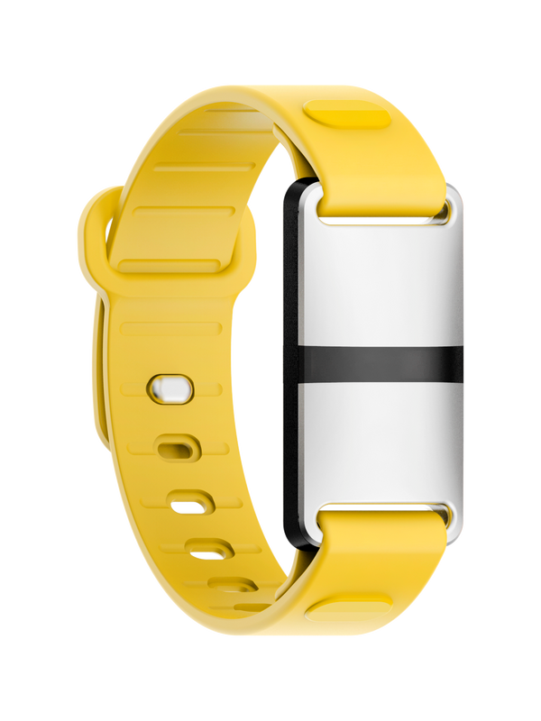 White Case with Yellow Sport Strap