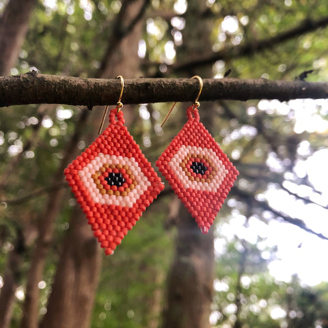 Eye See You Earrings - Orange