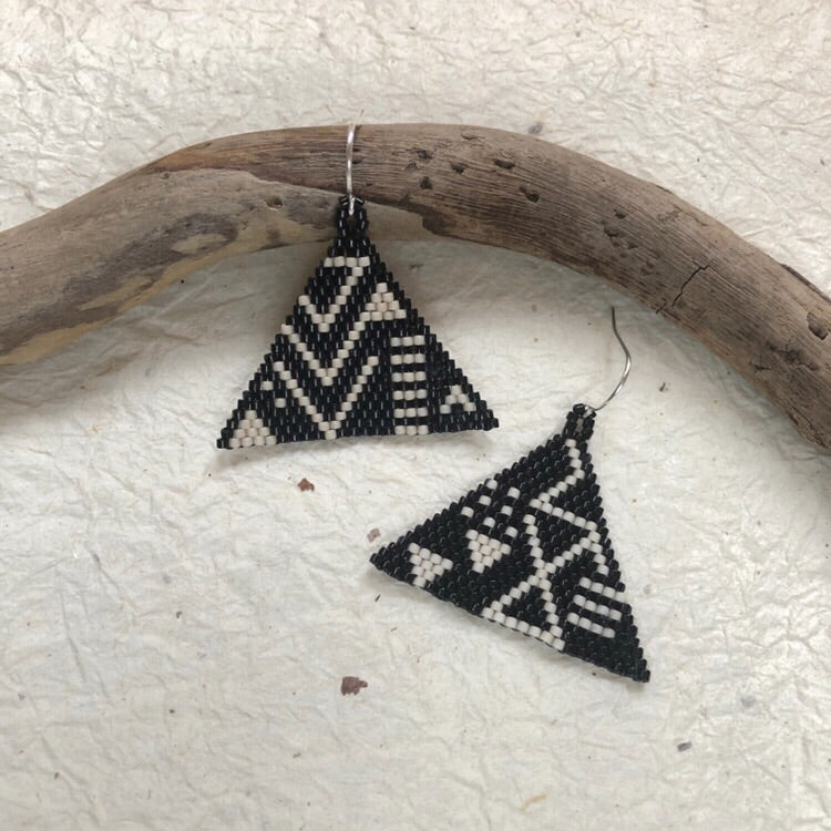 Hand woven beaded earrings by snails and fairydust