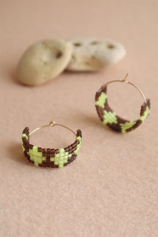 Hot Mama Hoops: Neon Yellow + Brown